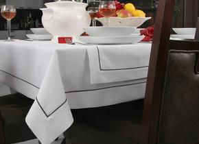 Obrus Len Biały Elegance MT 6/1 Wypustka Brąz
